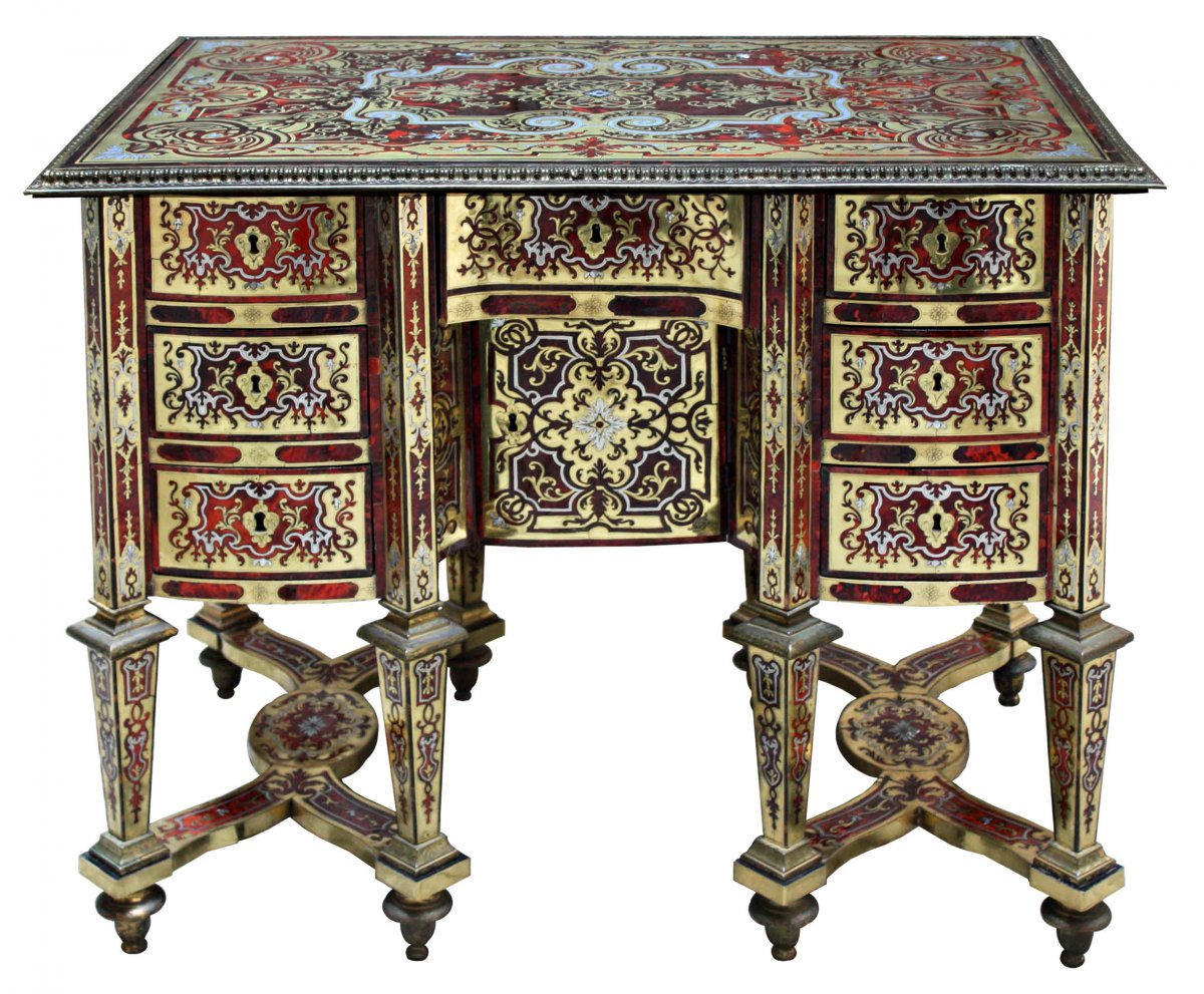 a small louis xiv ormolu mounted boulle marquetry bureau. Black Bedroom Furniture Sets. Home Design Ideas