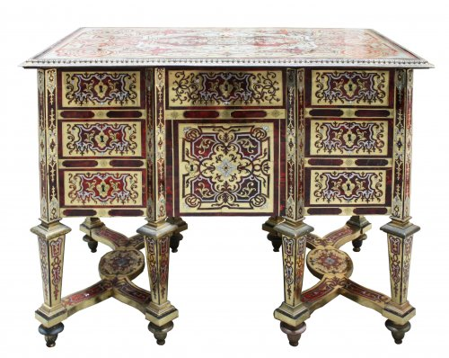 Furniture  - A small Louis XIV ormolu-mounted Boulle Marquetry Bureau Mazarin