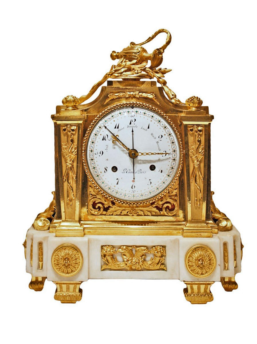 A Louis Xvi Ormolu And Marble Mantel Clock By Le C Ur 224