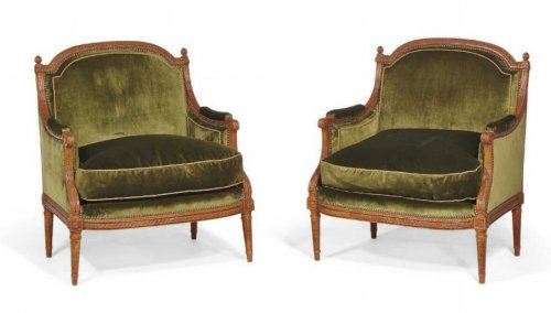 A pair of Louis XVI carved beechwood Marquises stamped by Philippe-Joseph P