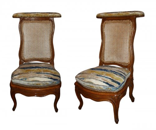 A pair of Louis XV caned  beechwood Ponteuses  by Sulpice Brizard