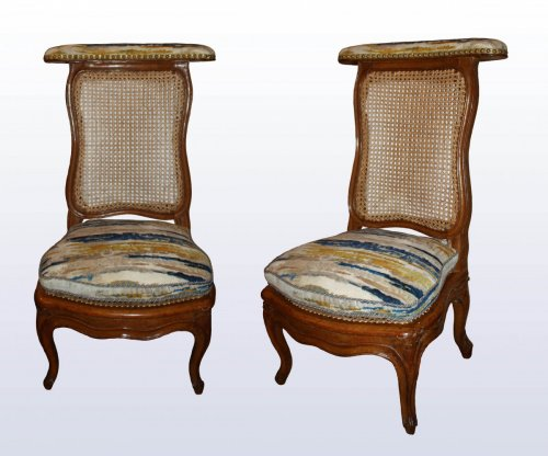 A pair of Louis XV caned  beechwood Ponteuses  by Sulpice Brizard -