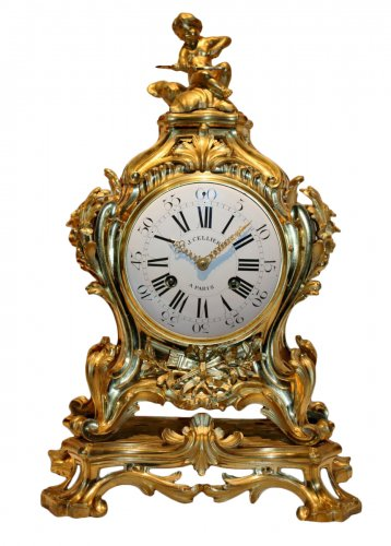Important Louis XV Mantel Clock by Jérôme Cellier