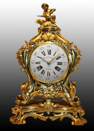 18th century - Important Louis XV Mantel Clock by Jérôme Cellier