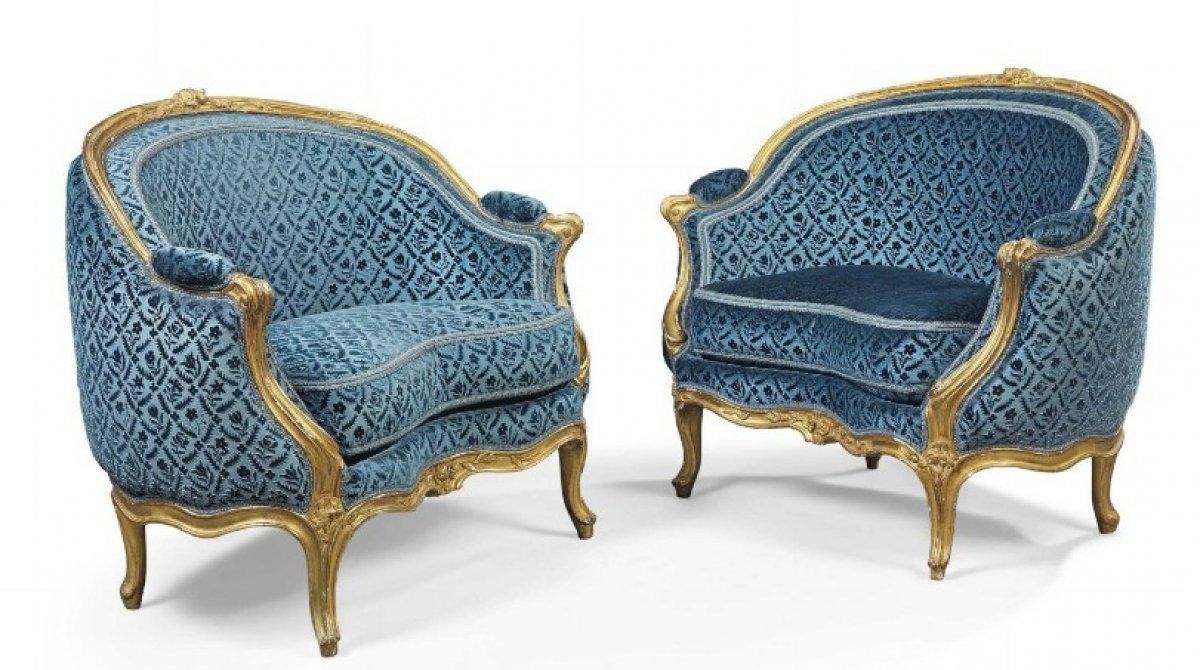 paire de marquises en corbeille par louis delanois - Canape Ancien