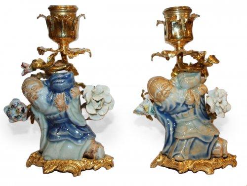 A pair of Louis XV ormolu-mounted  small Candlesticks