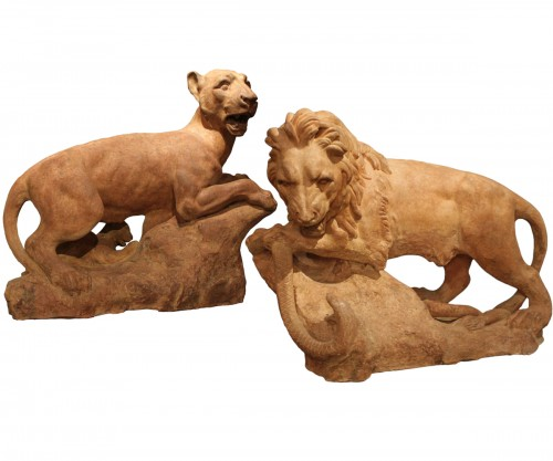 A pair of Sculptures in terra cotta