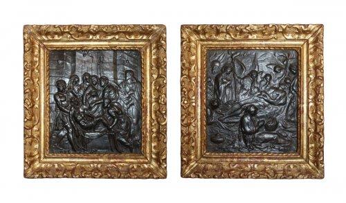 A pair of low-reliefs Sculptures