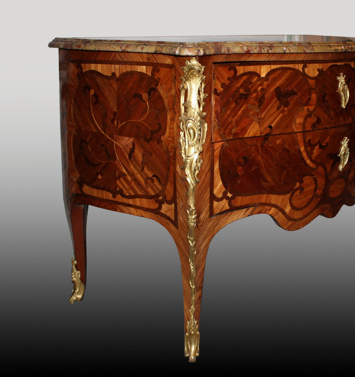 a louis xv floral marquetry commode. Black Bedroom Furniture Sets. Home Design Ideas