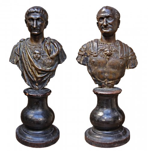 Pair of busts of Emperors, 17th century