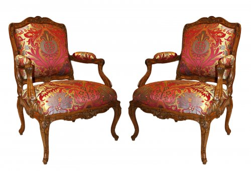 Pair of early Louis XV  Armchairs by Louis Cresson