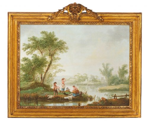 Pair of Landscapes painting by Jean-Baptiste Pillement (1728 - 1808)