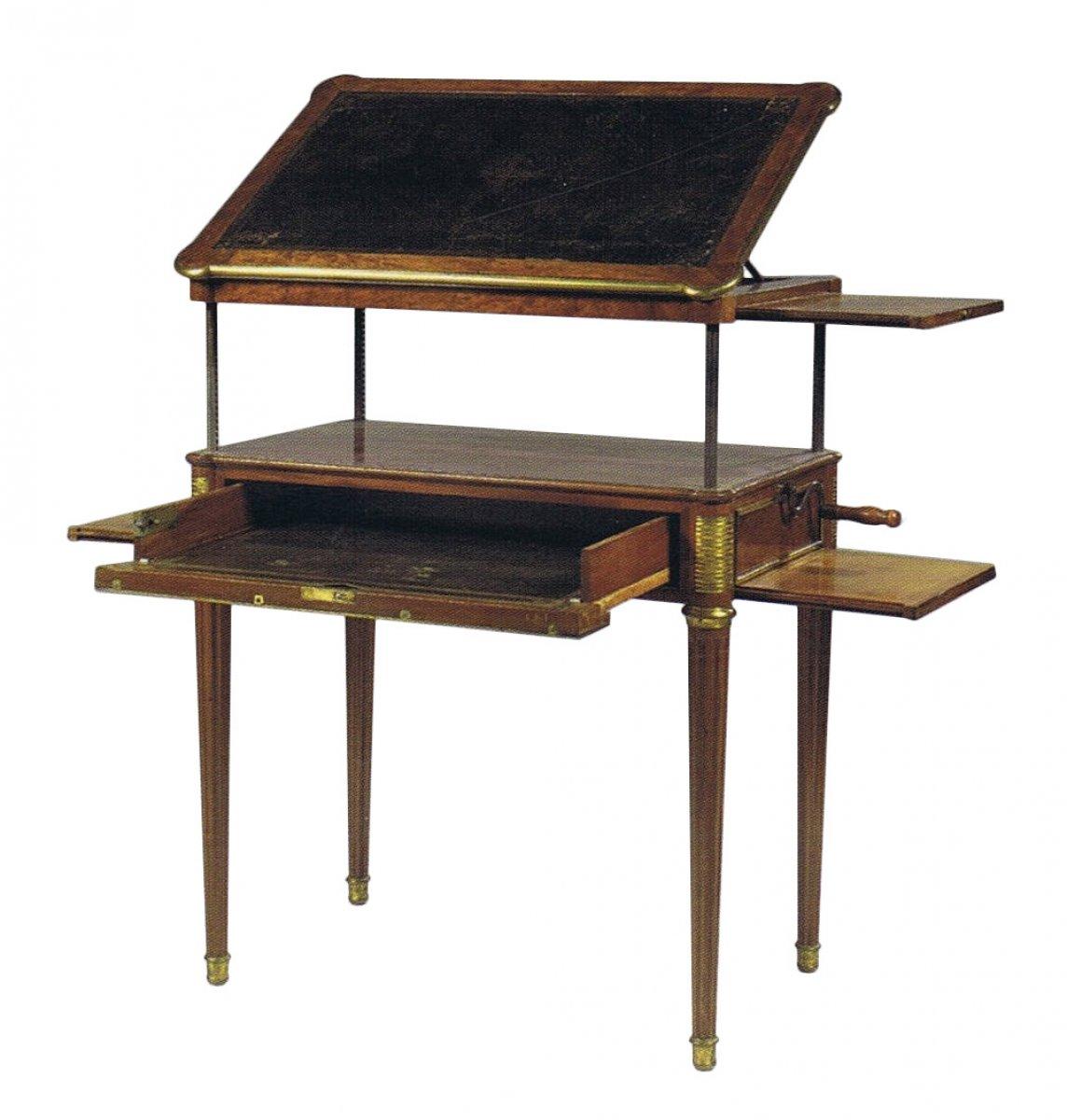 Table d 39 architecte m canisme par adam weisweiler xviiie s - Table d architecte ancienne ...