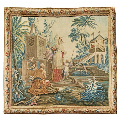 "A Louis XV Aubusson Chinoiserie Tapestry from the series ""Tenture Chinoise"""