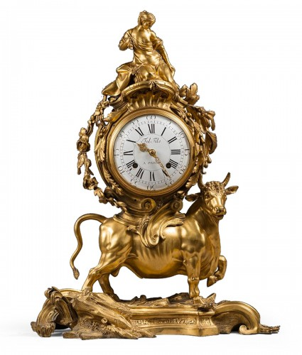 A Louis XV ormolu-bronze Mantel Clock  representing the Rape of Europa