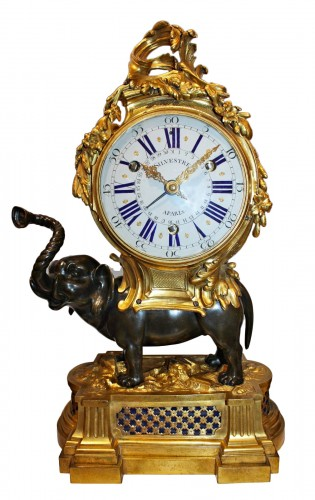 A Transitional ormolu and patined-bronze elephant Clock