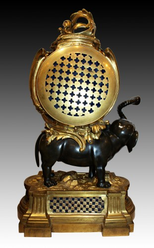 Clocks  - A Transitional ormolu and patined-bronze elephant Clock