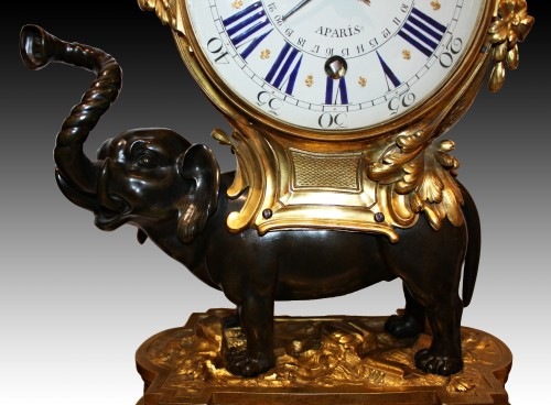 A Transitional ormolu and patined-bronze elephant Clock -