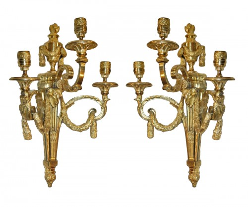 Pair of large Louis XVI ormolu  three-branch Wall-Lights