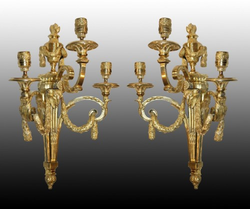 Pair of large Louis XVI ormolu  three-branch Wall-Lights -