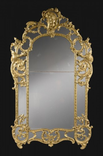 "A Regence / Louis XV carved and giltwood Mirror ""aux Chimères"" -"