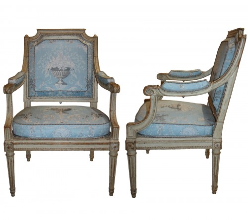 "A set of four Louis XVI Fauteuils ""à Châssis"" by Jean-Baptiste III Lelarge"