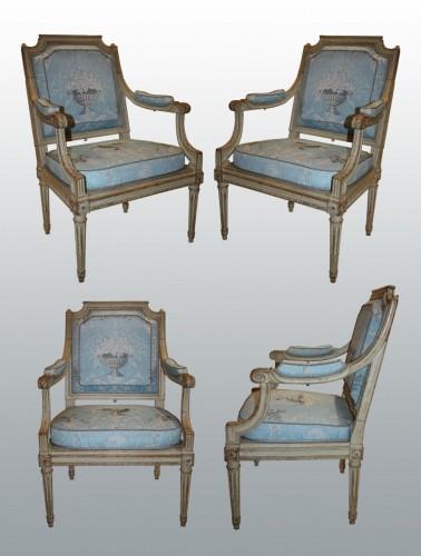 """A set of four Louis XVI Fauteuils """"à Châssis"""" by Jean-Baptiste III Lelarge - Louis XVI"""