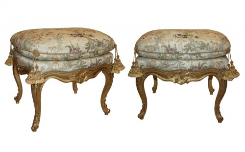 A pair of Louis XV giltwood stools Mid-18th Century