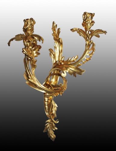 A pair of Louis XV ormolu twin-branch wall-Lights - Lighting Style Louis XV