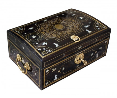 A Louis XIV brass, mother of pearl and ebony  Casket