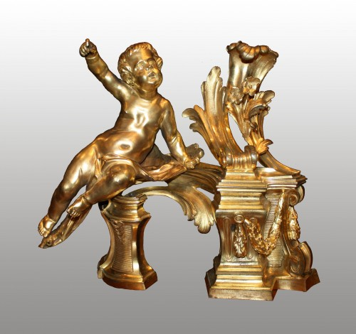 A pair ormolu Chenets - Decorative Objects Style Transition