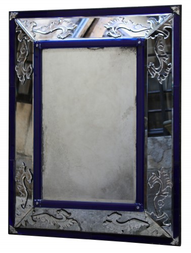 A Venitian clear and cobalt blue glass Mirror  Eighteen Century