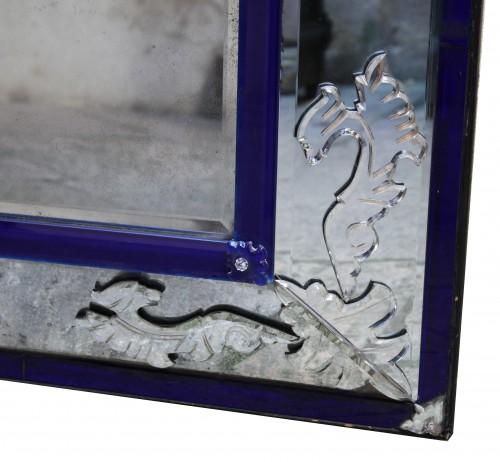 Mirrors, Trumeau  -  A Venitian clear and cobalt blue glass Mirror  Eighteen Century