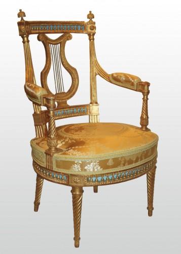 Seating  - A set of four Louis XVI giltwood  Fauteuils à dossier Lyre