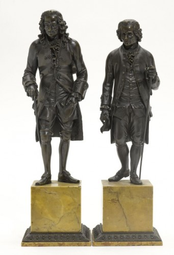 Pair of antique Bronze Sculptures of  Rousseau and Voltaire - Sculpture Style