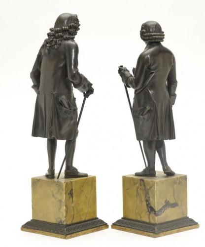 Sculpture  - Pair of antique Bronze Sculptures of  Rousseau and Voltaire