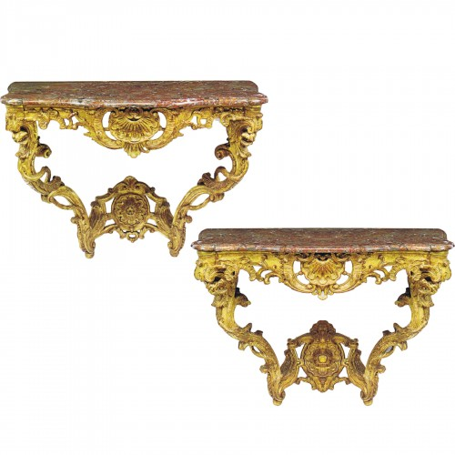 A matched pair of  Louis XV  giltwood Console Tables