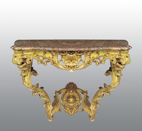 A matched pair of  Louis XV  giltwood Console Tables - Furniture Style Louis XV