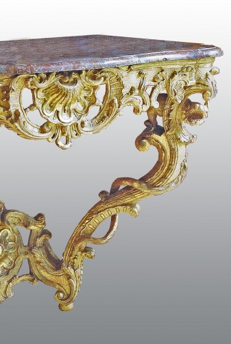 Furniture  - A matched pair of  Louis XV  giltwood Console Tables