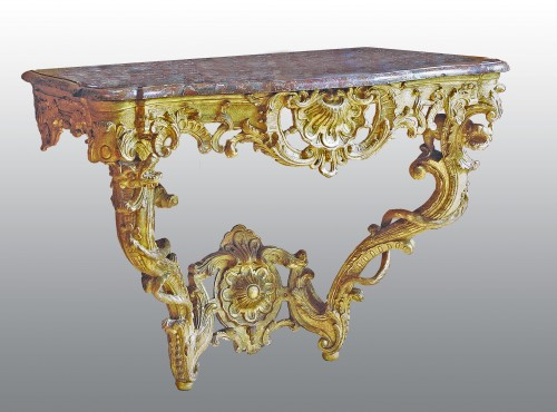 A matched pair of  Louis XV  giltwood Console Tables -