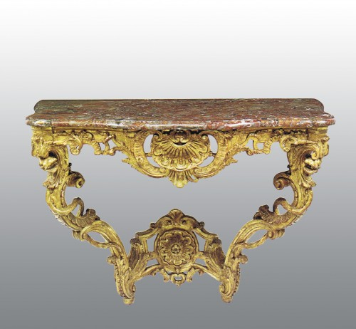 18th century - A matched pair of  Louis XV  giltwood Console Tables