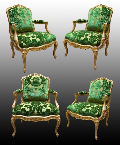 A set of four Fauteuils à Châssis attributed to Louis Cresson - Seating Style Louis XV