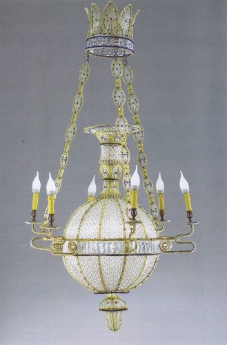 "- Exceptional pair of  ""à la Montgolfière"" Chandeliers"