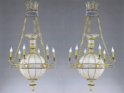 "Antiquités - Exceptional pair of  ""à la Montgolfière"" Chandeliers"