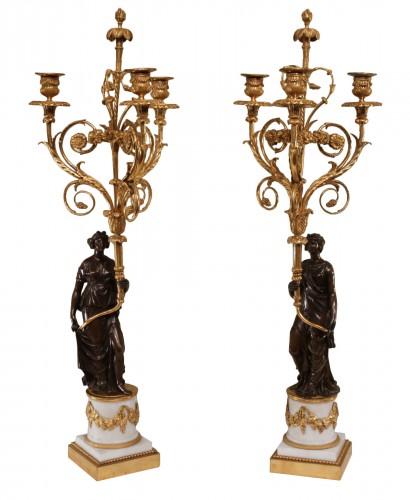 """A pair of Louis XVI Candelabra """"aux Vestales"""""""