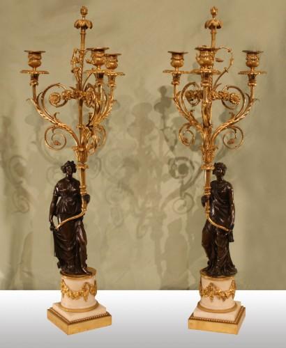 """Louis XVI - A pair of Louis XVI Candelabra """"aux Vestales"""""""
