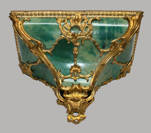 Cartel d'Applique in green horn by Burgeat in Versailles - Horology Style Louis XV