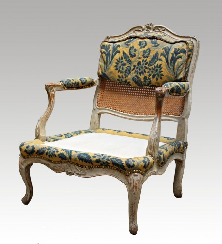 """Caned armchair """"Coin de Feu""""  stamped Jean-Baptiste Cresson - Seating Style Louis XV"""