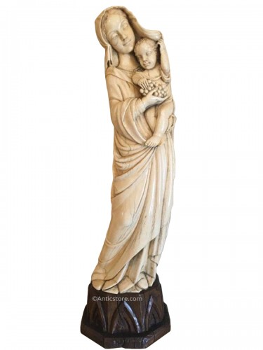 Madonna And Child In Ivory, Dieppe Late 19th