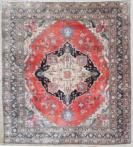 Heriz Silk carpet, North West Persia Late 19th Century
